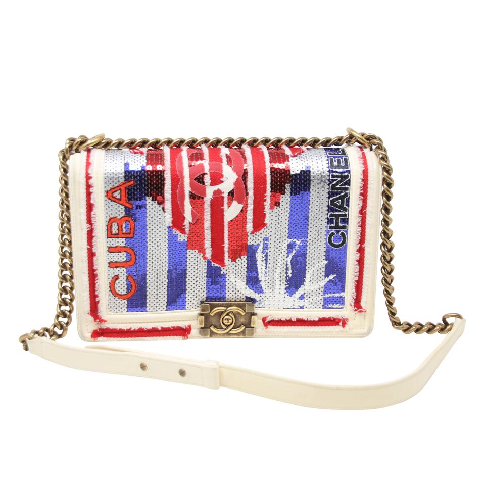a9c90e7a1cea Chanel Classic Flap Boy 2017 Cruise Cuba Collection Sequin Canvas New  Medium Cuba White Leather Red/White/Blue Calfskin Cross Body Bag