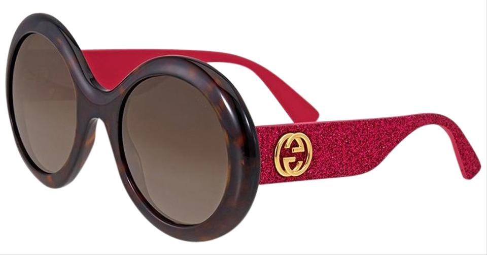 f85311be7e4 Gucci Pink Glitter Arms Havana Frame   Brown Gradient Lens Women ...