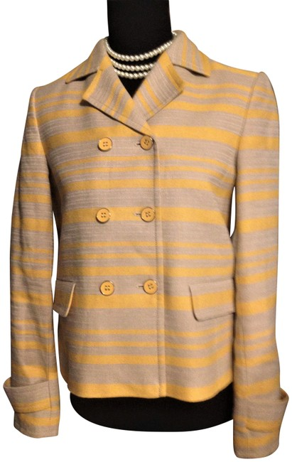 Item - Yellow & Beige Double Breasted Lined Short Blazer Size 2 (XS)