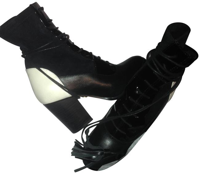 Item - Black & White Patent Leather Suede Leather Lace Up Leather Wrap Tass Pull Boots/Booties Size US 6 Regular (M, B)