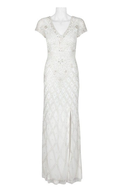 Item - Ivory Silver Beaded V-neck Gown Long Formal Dress Size 4 (S)
