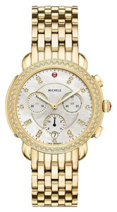 Michele New Michele Sidney Diamond Dial Gold Tone Ladies Watch (MWW30A000008)