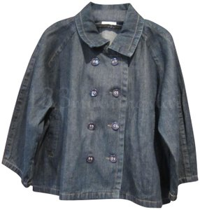 Van Heusen Notch Collar Double Breasted 3/4-sleeves Fading Effect Stitching Navy Womens Jean Jacket