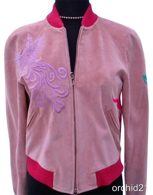 Item - Light Pink XS Suede Bomber Coat Embroidery New Xs/S Lined Jacket Size 4 (S)