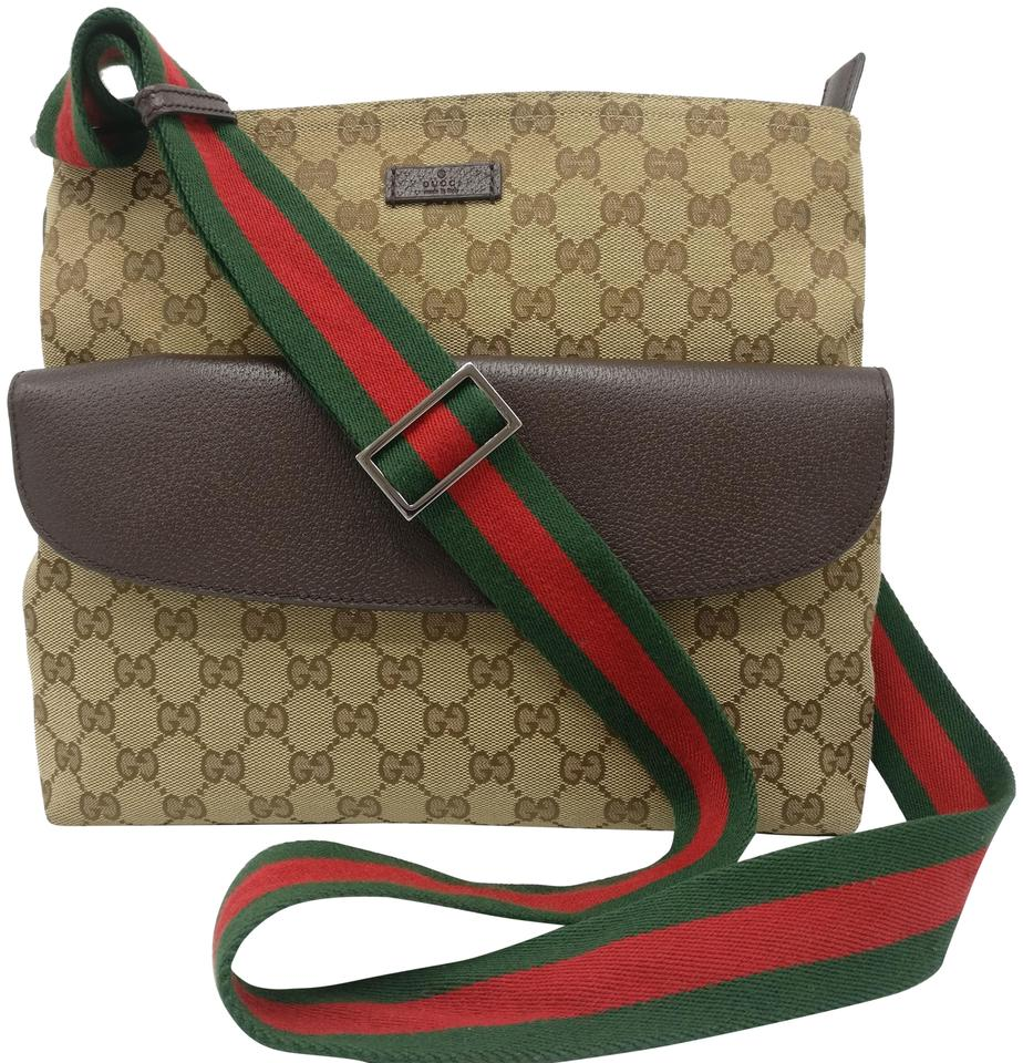 68a48ac82d7cb4 Gucci Web Gg Supreme Monogram Beige Canvas Cross Body Bag - Tradesy