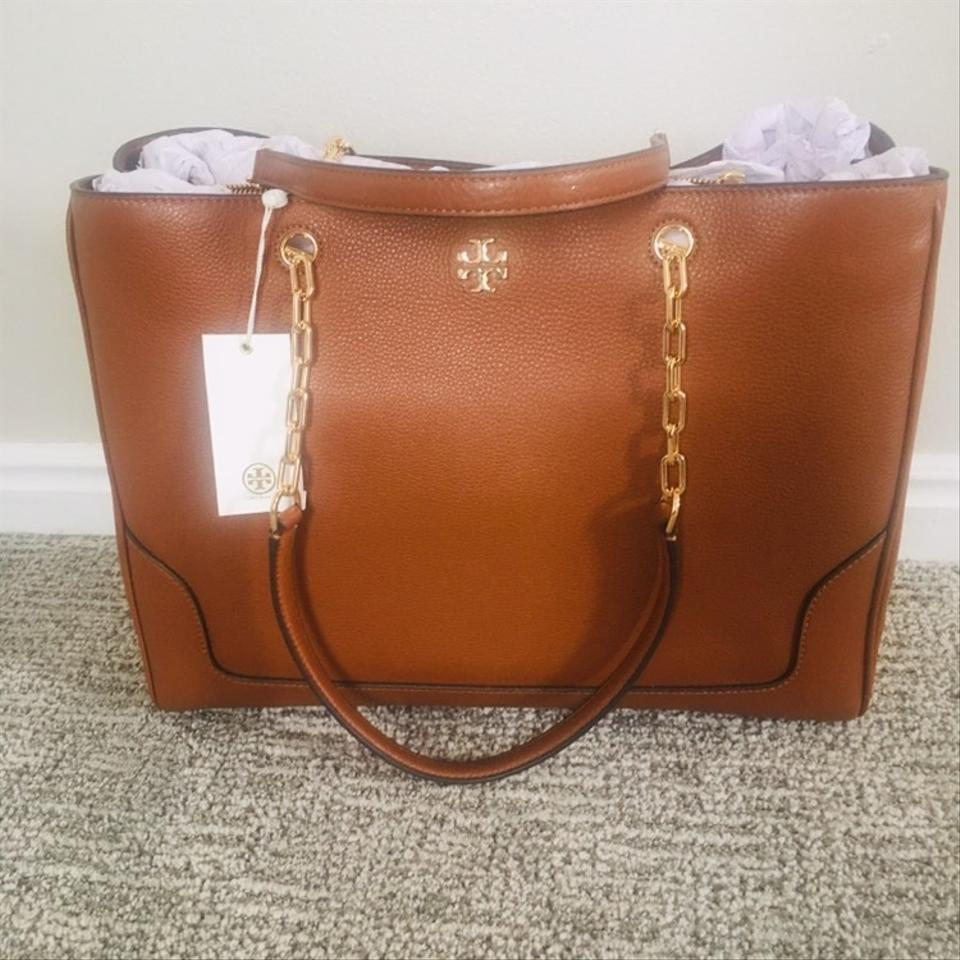 5d934db21d3 Tory Burch Leather Marsden Pebbled Tote in Nut Image 9. 12345678910