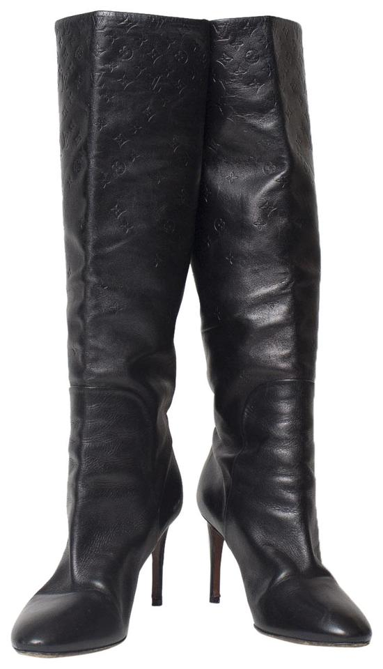 3e4990d9deb Louis Vuitton Black Monogram Knee High Stiletto Boots Booties Size ...