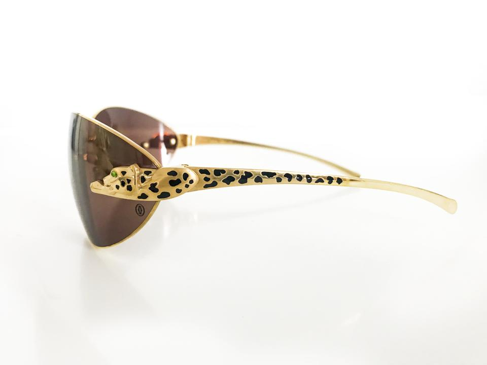 349417ff56e Cartier Gold Frame Brown Lenses Limited Edition Panther with Green ...