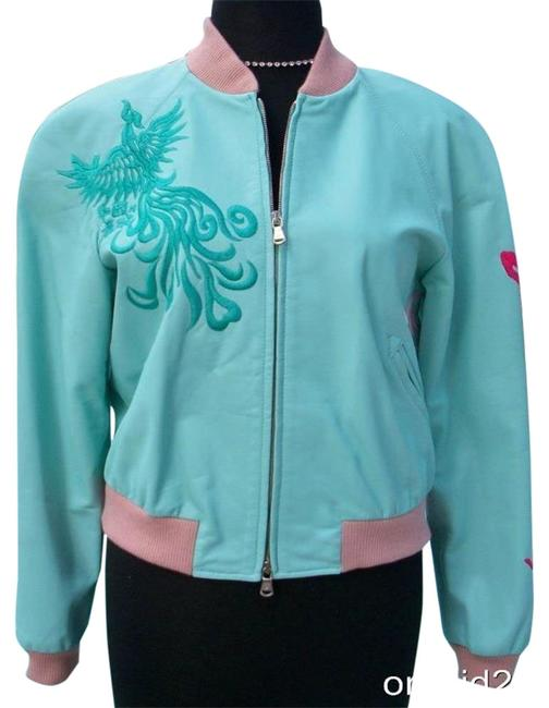 Item - Pink Suede Bomber Coat Embroidery New S/M Lined Jacket Size 8 (M)