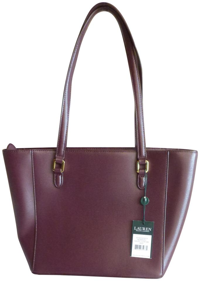 3e3d49d7f8 Lauren Ralph Lauren Halee Ii Saffiano Shopper Red (Port) Leather ...