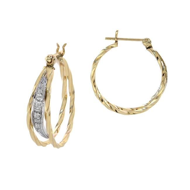 Item - 14k Yellow Gold Elegant Round Hoop with Diamond Accent Vintage Earrings