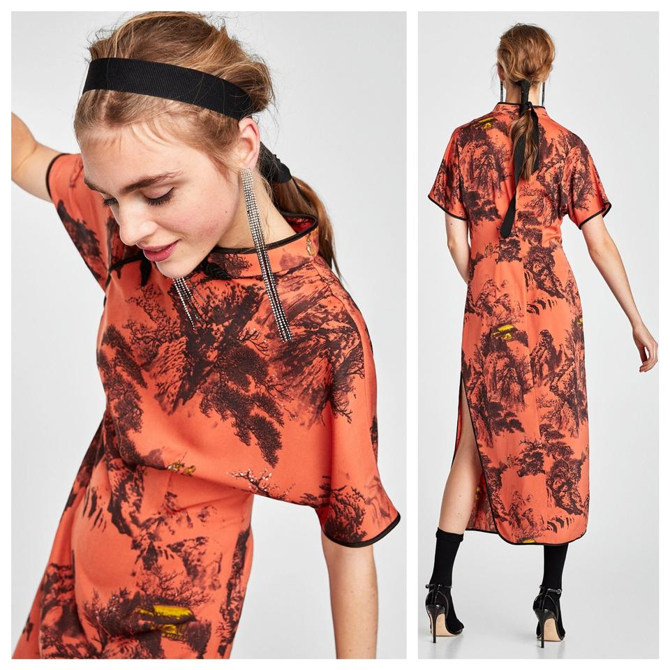 d60a5ea2 Zara Orange New Without Tags Oriental Printed Satin Mid-length ...