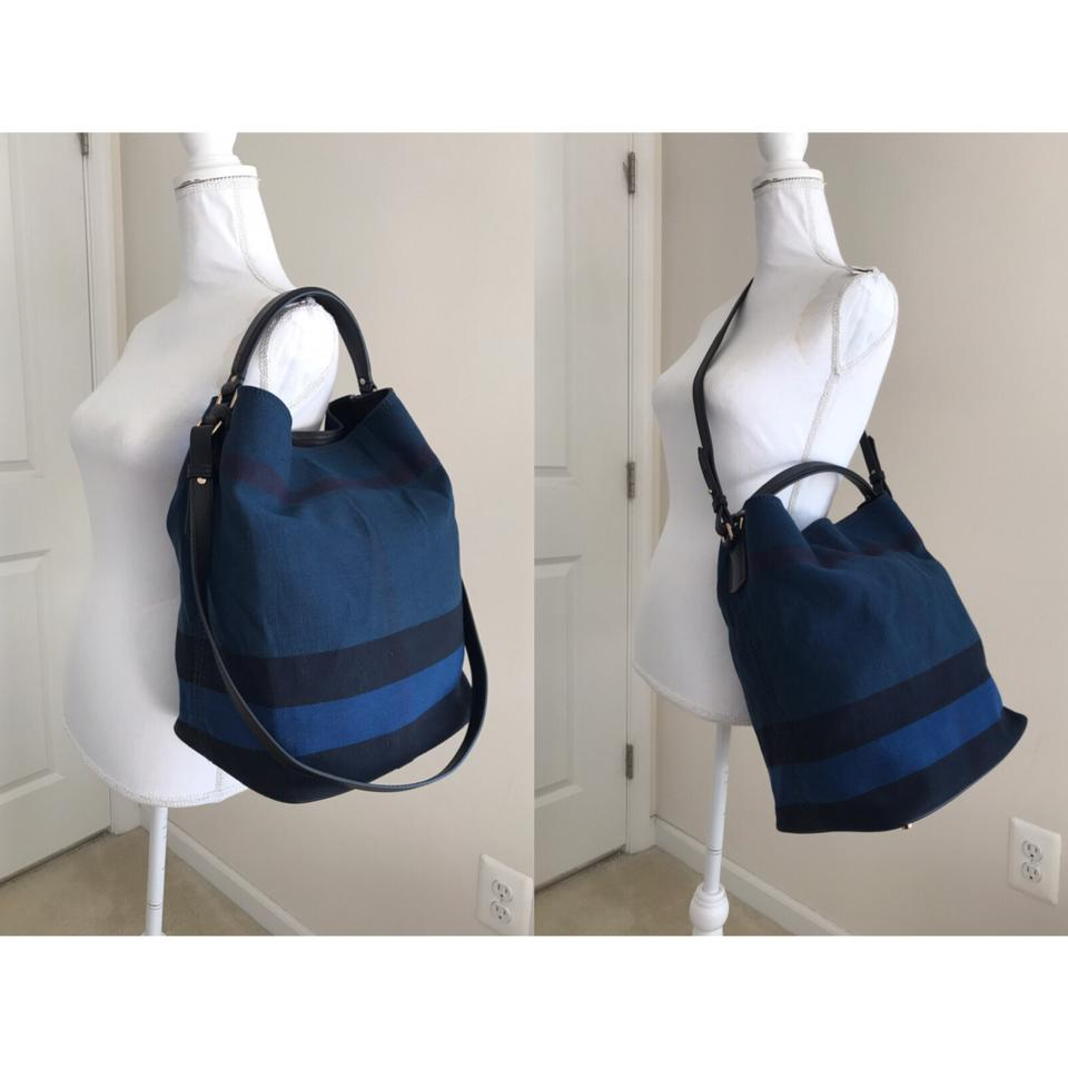 1b58ef2bbe80 Burberry Nwot Check Ashby Tote Blue   Multiple Leather Canvas Hobo ...