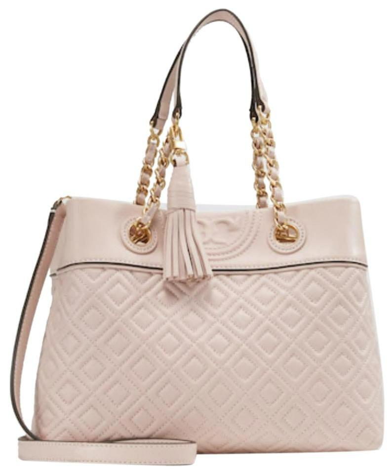 a0011b8e546 Tory Burch Fleming New Small Tassel Quilted Shell Pink Leather Tote ...