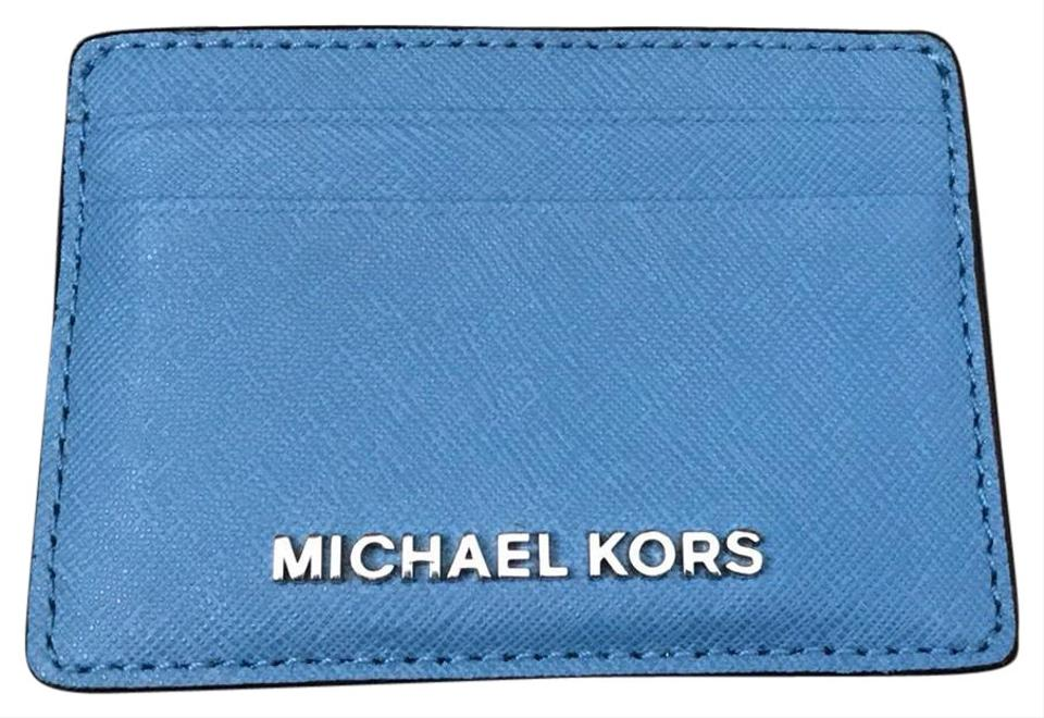 2280b8a5349e Michael Kors Blue Credit Card Holder Wallet - Tradesy