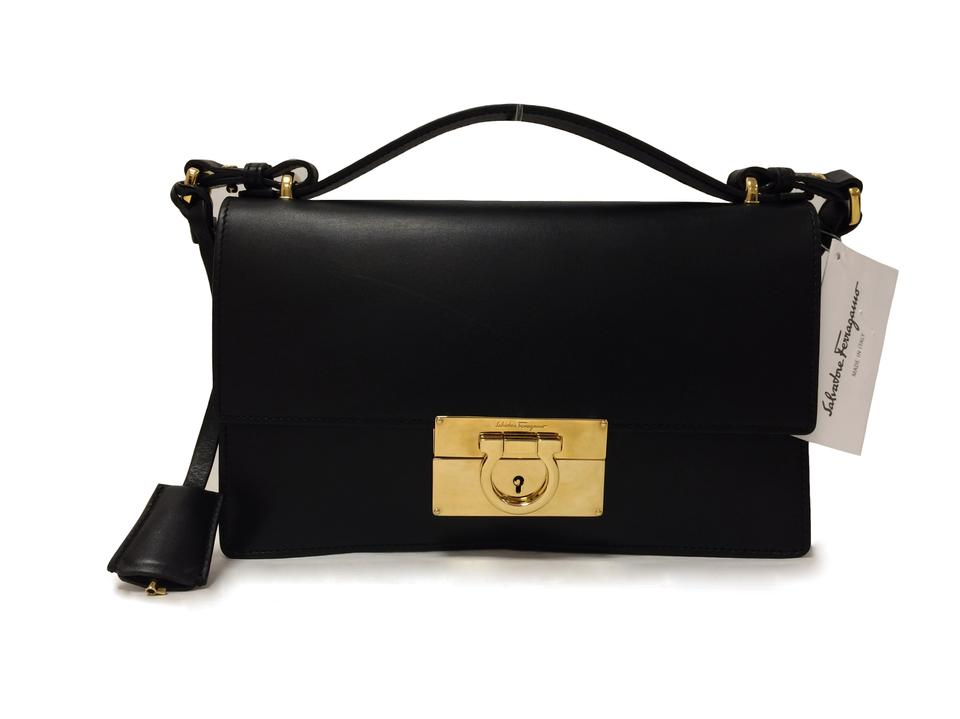 Salvatore Ferragamo Aileen Nero Calfskin Leather Cross Body Bag ... 4f1eed9db274b