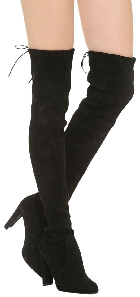 ccf7ce0b254 Stuart Weitzman Black Women s Highland Suede Over-the-knee Boots Booties
