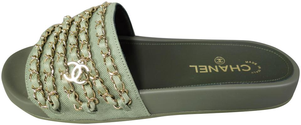 5a800910c821 Chanel Khaki Green Gold Woven Chains Sandals Mules Slides Cc Charm New Flats