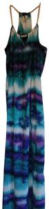 blue, green, Purple multi-print Maxi Dress by One Clothing Maxi
