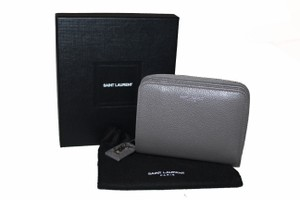 Saint Laurent Saint Laurent YSL Grey Grained Leather Rive Gauche Compact Zip Around