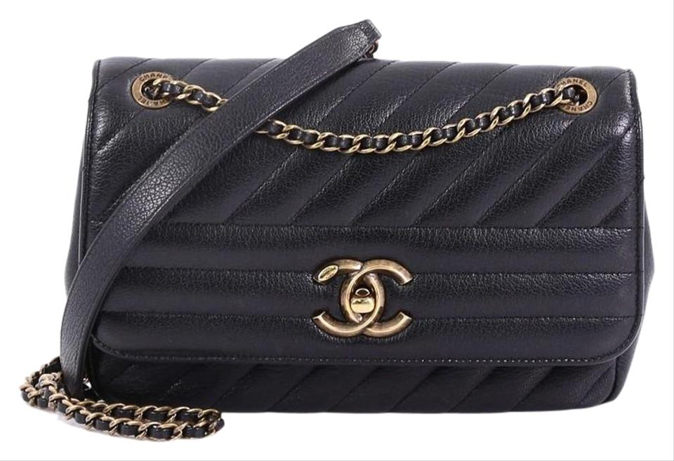 b18c227ecae0 Chanel Classic Flap Cc Diagonal Quilted Goatskin Small Black Leather ...
