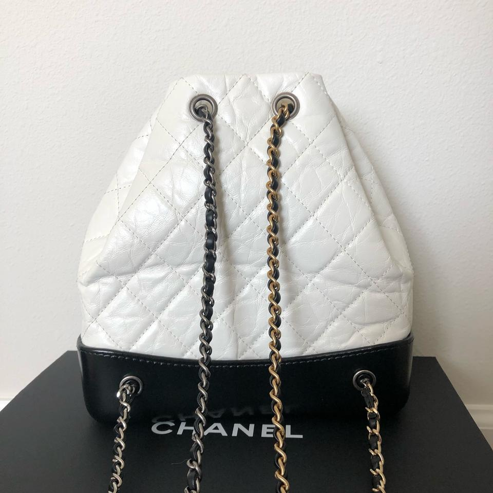716a3ae5e8df Chanel Gabrielle A94485 Black & White Aged Leather Backpack - Tradesy