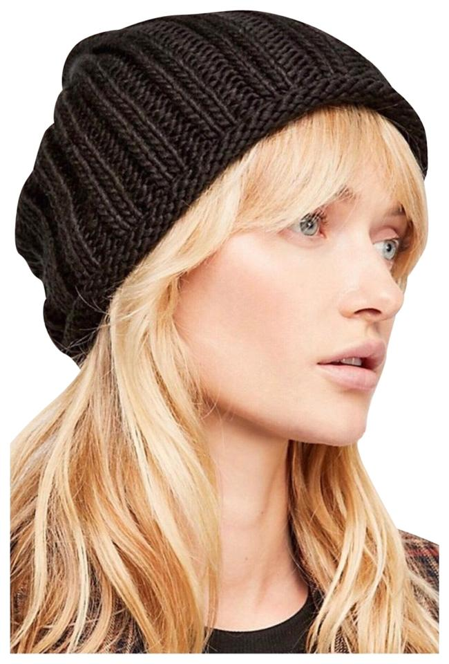 d016b091030838 Free People FREE PEOPLE COZY BLACK KNIT SLOUCHY BEANIE Image 0 ...