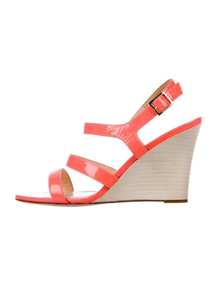 ef1dd6857108ac Kate Spade Neon Orange Patent Leather New York Wedges Size US 9 ...
