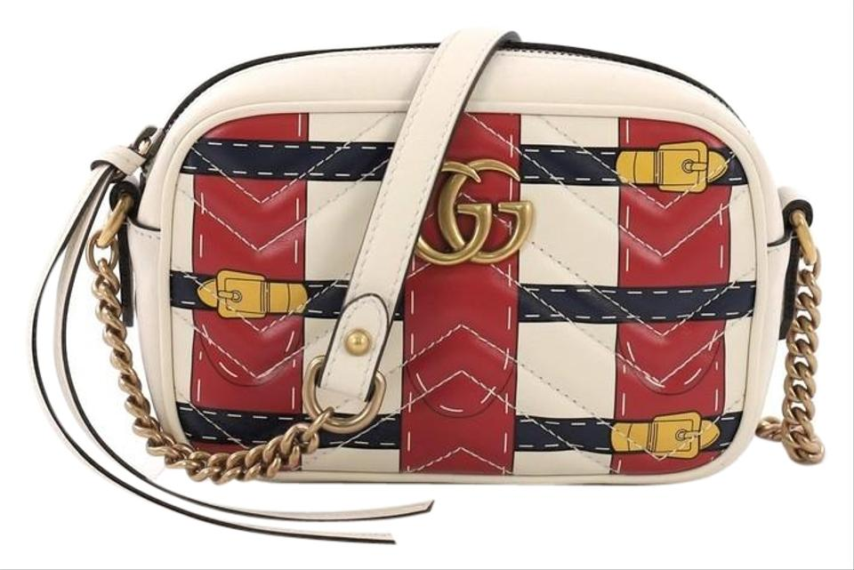4699a7f6694 Gucci Marmont Limited Edition Printed Matelasse Mini White Leather ...