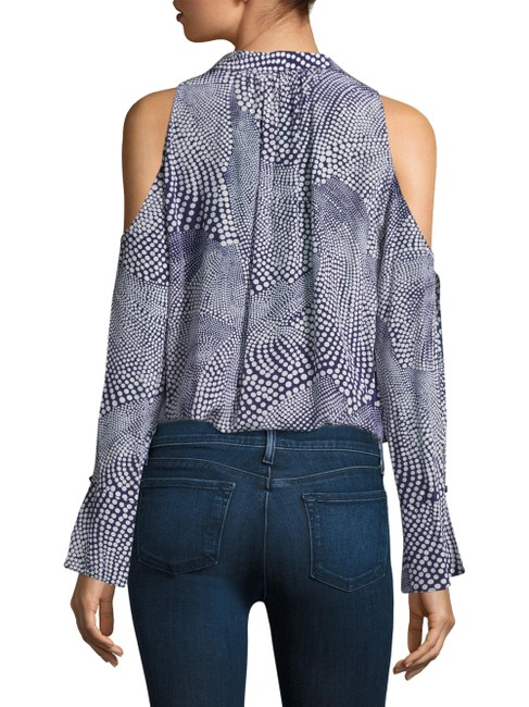 Ramy Brook Cold Shoulder Silk Print Loose Fit Top Blue and White