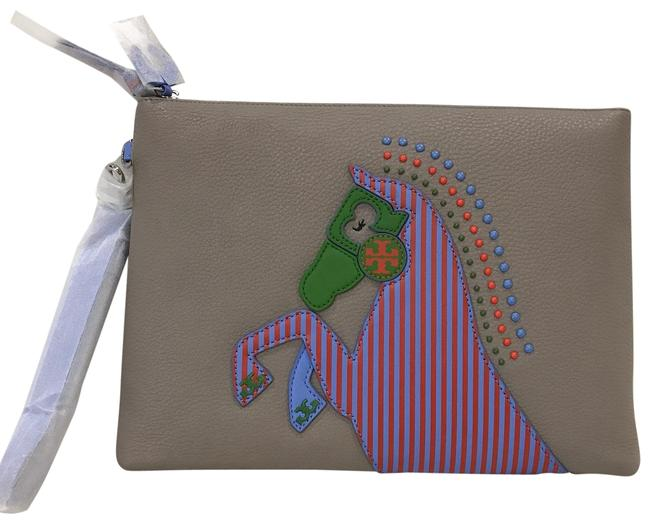 Item - Horse Large Zipper Gray Leather Clutch