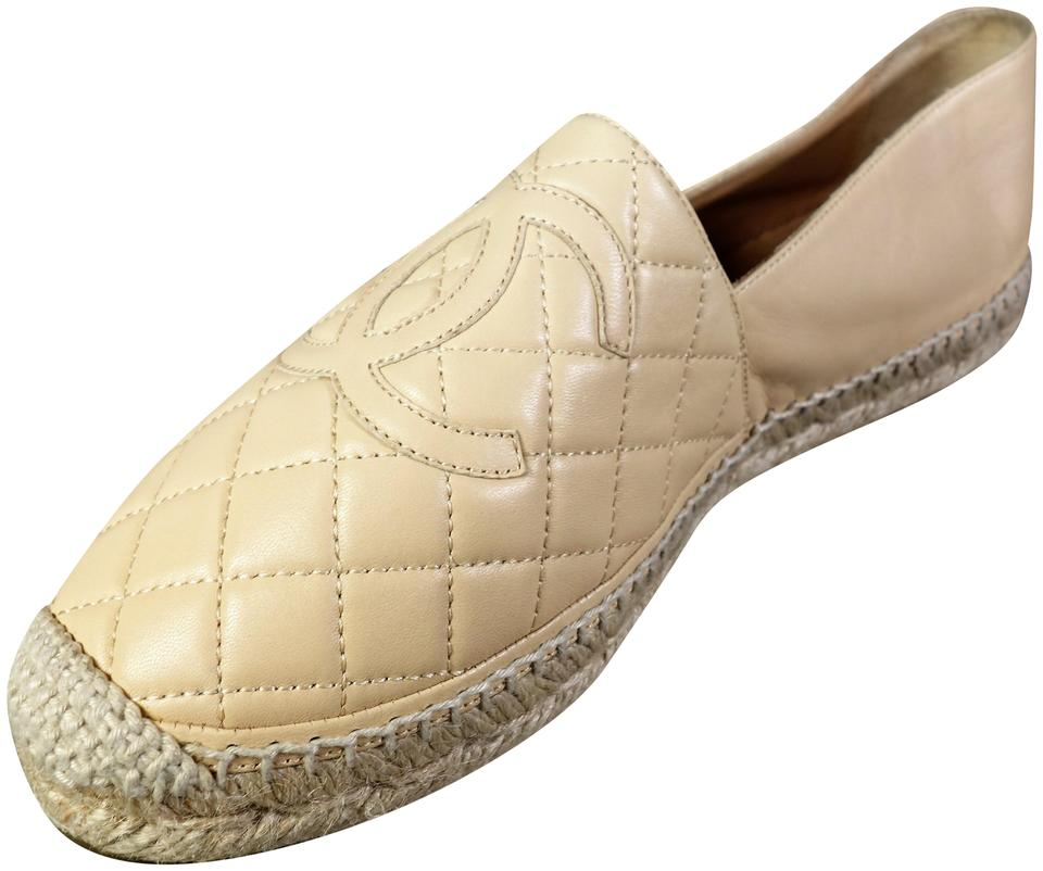 e7bd6603f3c2 Chanel Beige Quilted Lambskin Leather Espadrilles Sold Out Slip On ...