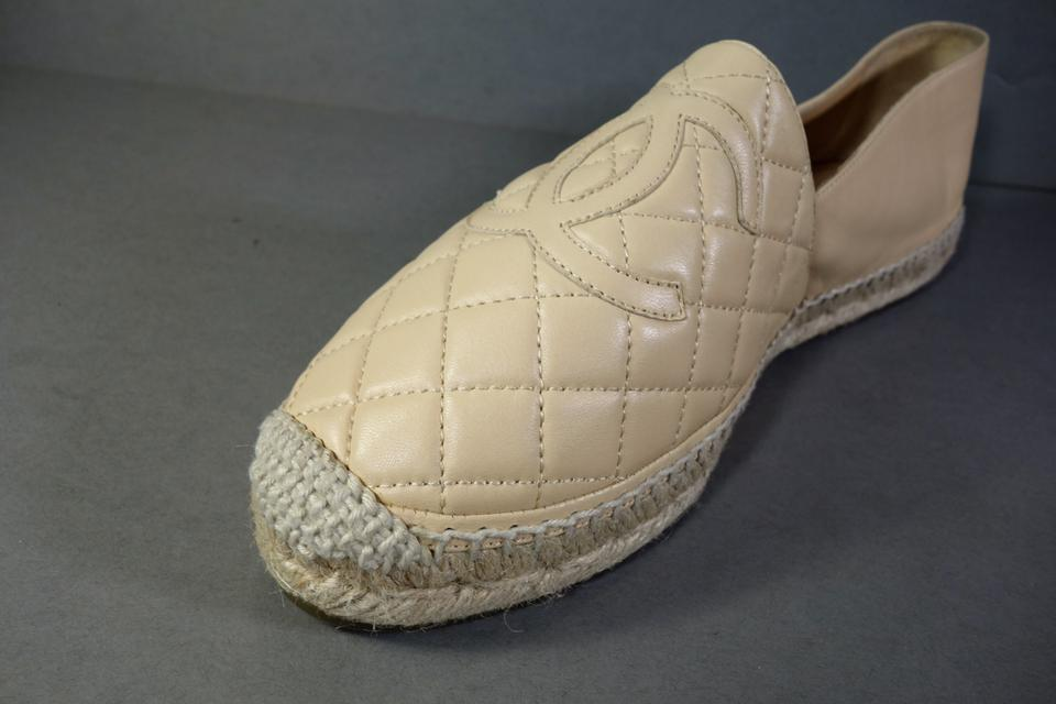 6f371b5e7dc9 Chanel Beige Quilted Lambskin Leather Espadrilles Sold Out Slip On Cc New  Flats Size EU 41 (Approx. US 11) Regular (M