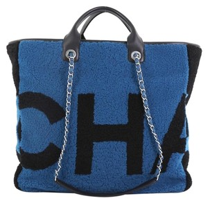 c9099be7a4aaec Chanel Shopping Logo Printed Large Blue Shearling Wool Tote - Tradesy
