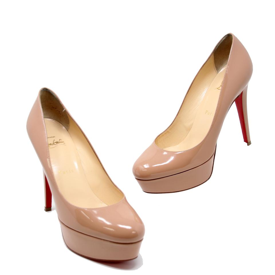 ee4a9c19cb26 Christian Louboutin Nude Round Toe Patent Leather Bianca 120 Platform 37.5  Pumps