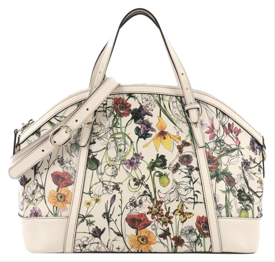473d8a92a453 Gucci Nice Top Handle Flora Coated Medium White Canvas with Leather ...