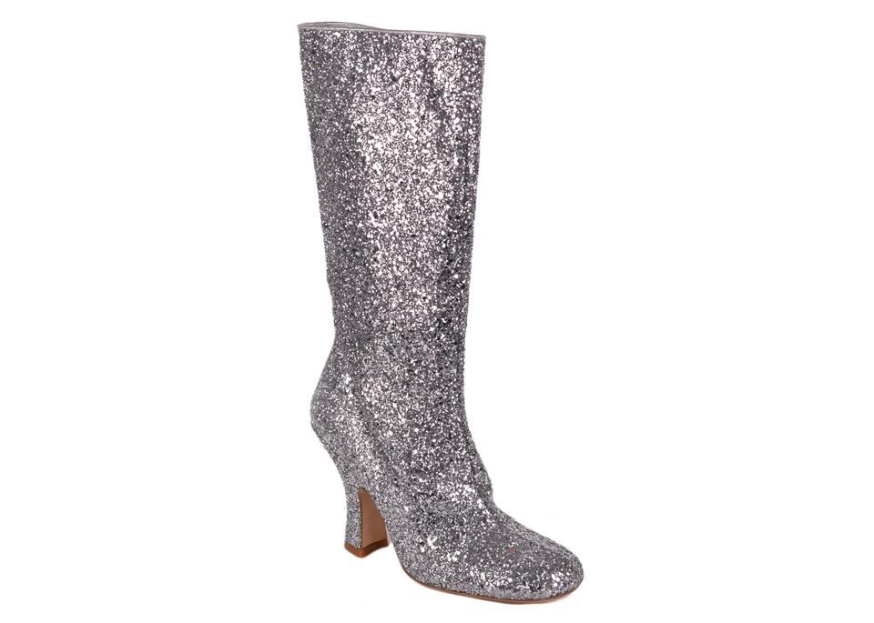 cheap for discount 67bc9 0cd23 Miu Miu Silver Womens Glitter Leather Knee High C3512 Boots/Booties Size US  8 Regular (M, B) 77% off retail