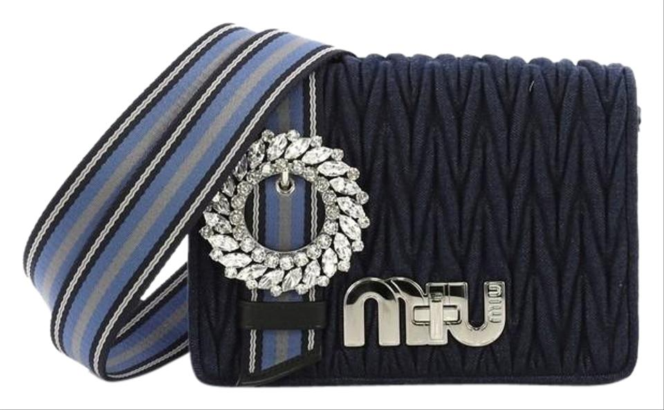 Miu Miu My Matelasse Small Blue Denim Shoulder Bag - Tradesy b12937d258b18