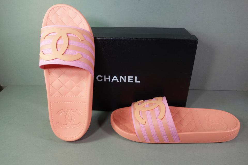 3b558bd0417a Chanel Pink   Orange Wide Strap Large Cc Quilted Sandals Mules Pool ...