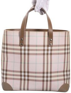 17763aabca6f Burberry Coated Canvas Leather Nova Check Tote in plaid