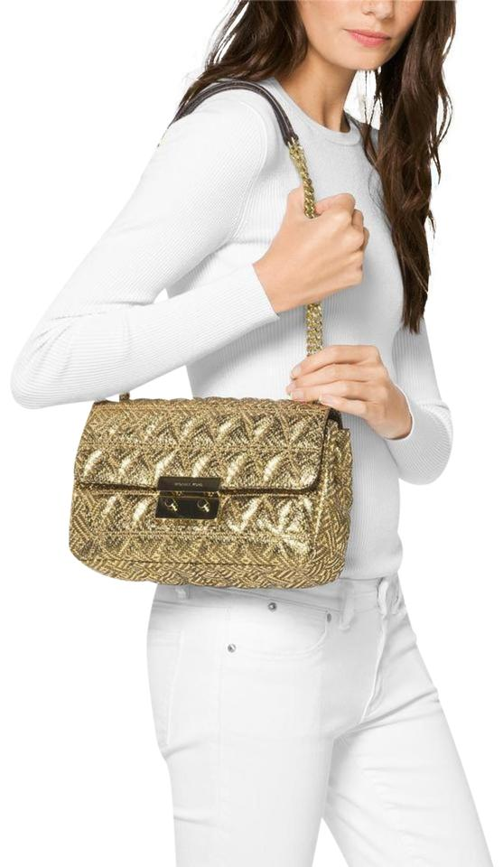 309e8ca0483 MICHAEL Michael Kors Sloan Large Chain Flap Quilted Gold Leather Shoulder  Bag