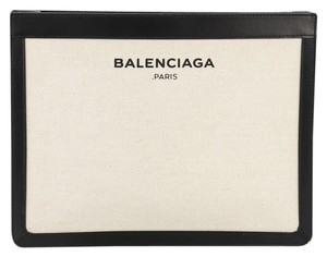 Balenciaga Canvas And Leather beige Clutch