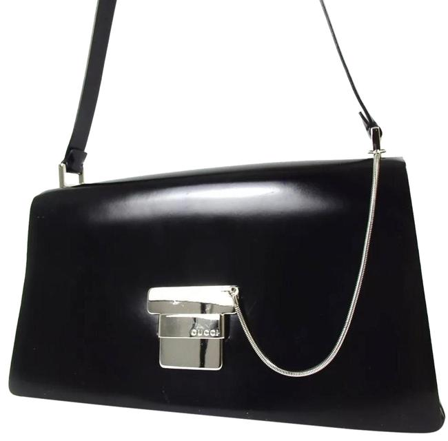 Item - Logo Black/ Silver Leather Shoulder Bag