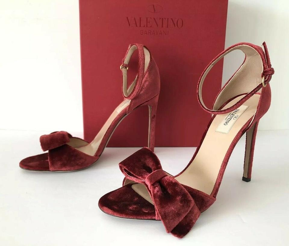 1d60a6b20 Valentino Red Garavani Velvet Bow Ankle Strap Open Toe Heel Sandals Pumps  Size EU 40 (Approx. US 10) Regular (M, B) - Tradesy