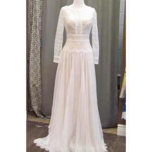 Maggie Sottero Ivory /Gold Lace Deirdre By Vintage Wedding Dress Size 12 (L)