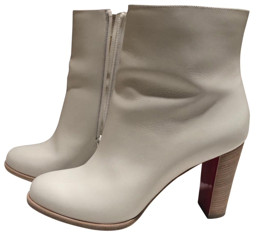 2a970577e3ec Christian Louboutin White Adox Leather Block-heel Red Sole Boots Booties