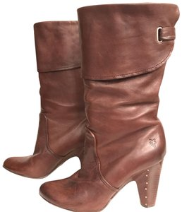 Frye Leather Midcalf Distressed Slouchy Motorcycle Brown Boots