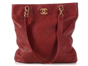 Chanel Burgundy Cc Vertical Ch.q0110.03 Gold Hardware Tote in Red