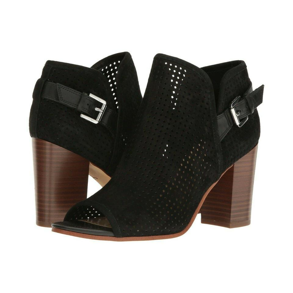 06f4553d23f006 Sam Edelman Black Easton Perforated Leather Buckle Open Toe Ankle Boots  Booties