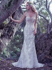 Maggie Sottero Ivory /Gold Beaded Greer By Vintage Wedding Dress Size 12 (L)